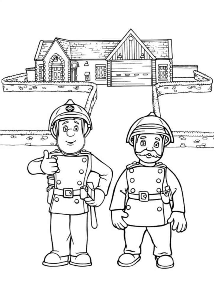 Coloriage de Sam le Pompier gratuit à imprimer pour les ...